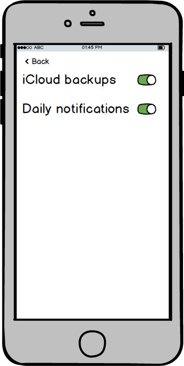 Wireframe of settings screen