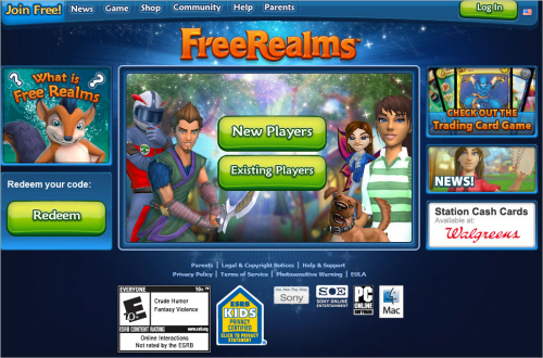 Freerealms-homepage in Best Practices For Designing Websites For Kids
