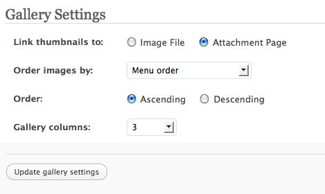 The settings pane for creating a gallery in WordPress