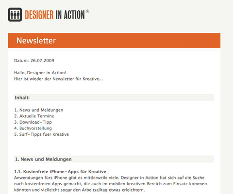 Designer in Action's Newsletter