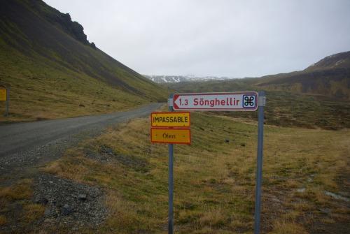 Wayfinding and Typographic Signs - icelandic-glacier-road-impassable