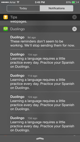 Duolingo notifications