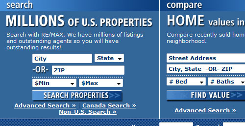 A screenshot  of the remax.com interface with a city, state, and min-max price range search filter