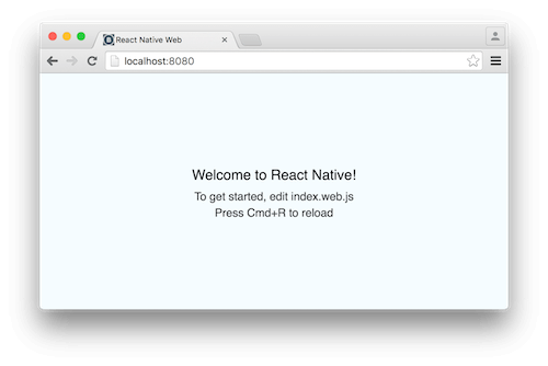 React Native web welcome screen