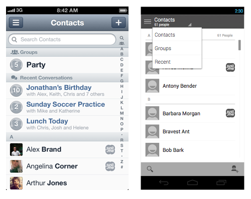 When bringing an iPhone design (left) to Android (right), use elements that are native to the platform.