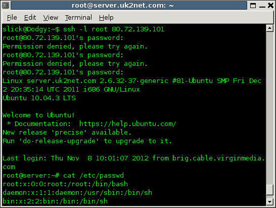 The first part of the SSH conversation above: logging in as root, getting the password wrong twice, asking for a file.