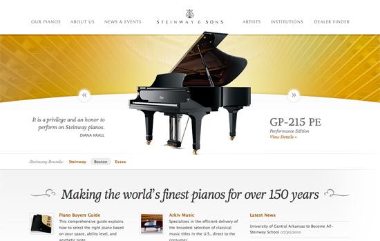 Screenshot, Steinway.com.