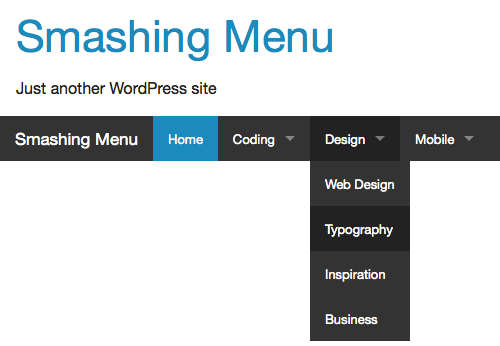 The Foundation Top Bar on a WordPress website