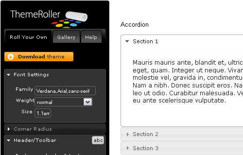 jQuery UI - screen shot.