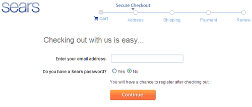 Simple checkout options at Sears.com, new users have the option of registering after checkout