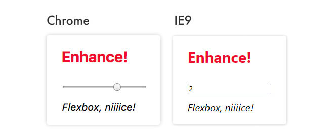 Range input type comparison in Chrome and IE 9