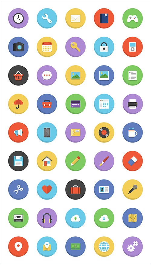 45 Colorful Flat Icons