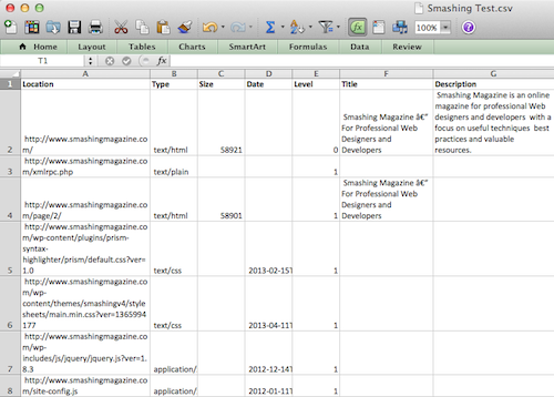 An excerpt of a raw CSV report from the Content Analysis Tool