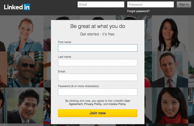 LinkedIn log-in screen