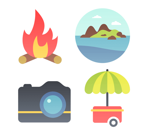 A close-up of four of the summer icons included in the set.