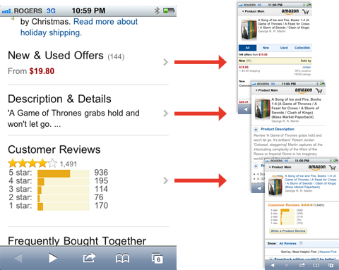 Screenshot of Amazon mobile product pages