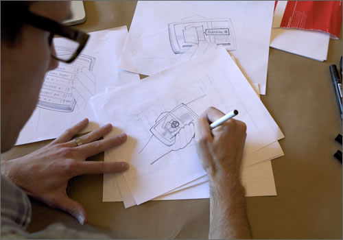 Various sketching of a mobile device in context of their enviroment