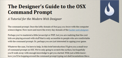 The Designer's Guide to the OS X Command Prompt: A Tutorial for the Modern Web Designer