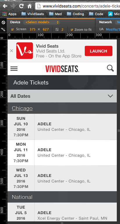 Mobile view of Adele's tickets page.