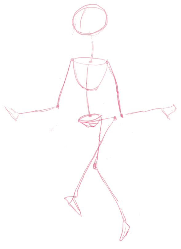 The mannequin traced in Photoshop. Her position still seems a bit strange in this step, but this will change soon.