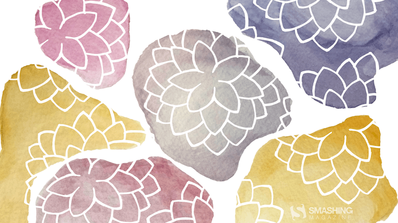 Watercolor illustration of pastel-colored stones with stone dahlias growing on top of them.