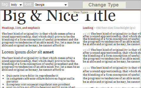typeQuery, change website typography with jquery