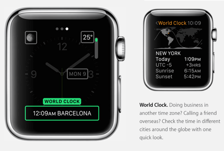 Images from Apple's website showcasing Apple Watch world clock feature