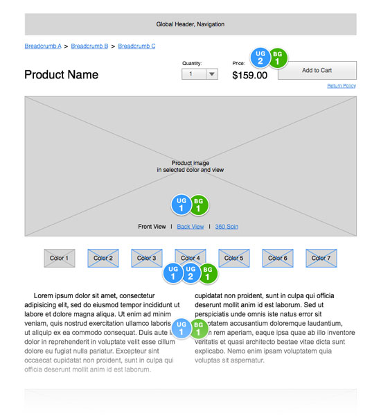 Product detail page wireframe.