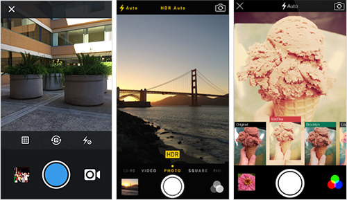 Instagram, Apple Camera, and Flickr Mobile Apps, respectively.