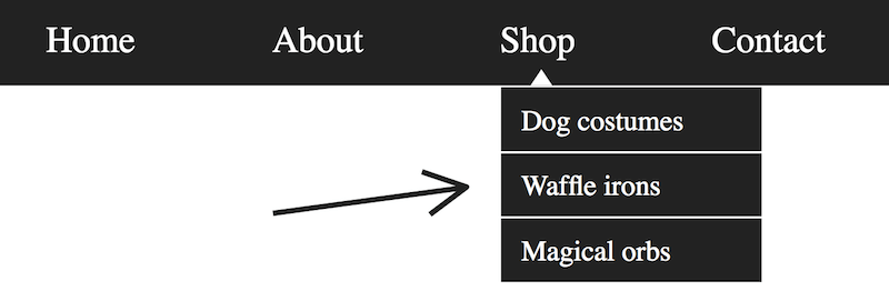 A navigation bar with includes a shop link, underneath which hangs a set of three further links to dog costumes, waffle irons, and magical orbs respectively.