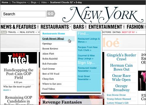 New York Magazine dropdown menus