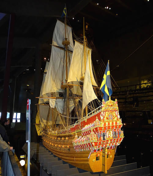 The 1:10 scale model of the ship in Stockholm's Vasa Museum