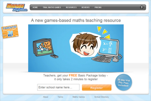 Mangahigh-homepage in Best Practices For Designing Websites For Kids