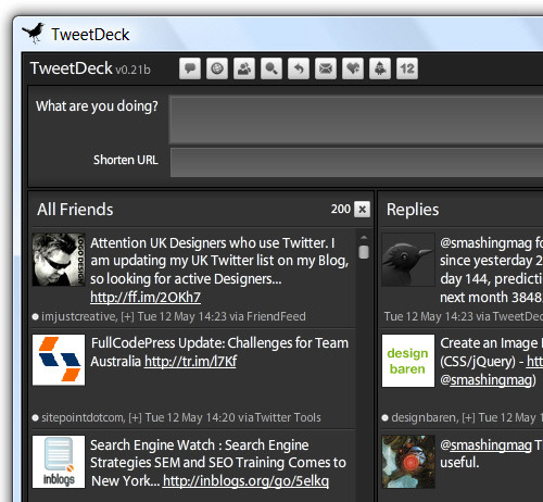 Screenshot of Tweetdeck