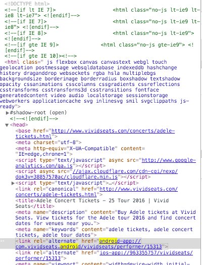 View of the code for the same page with the alternate tag highlighted.