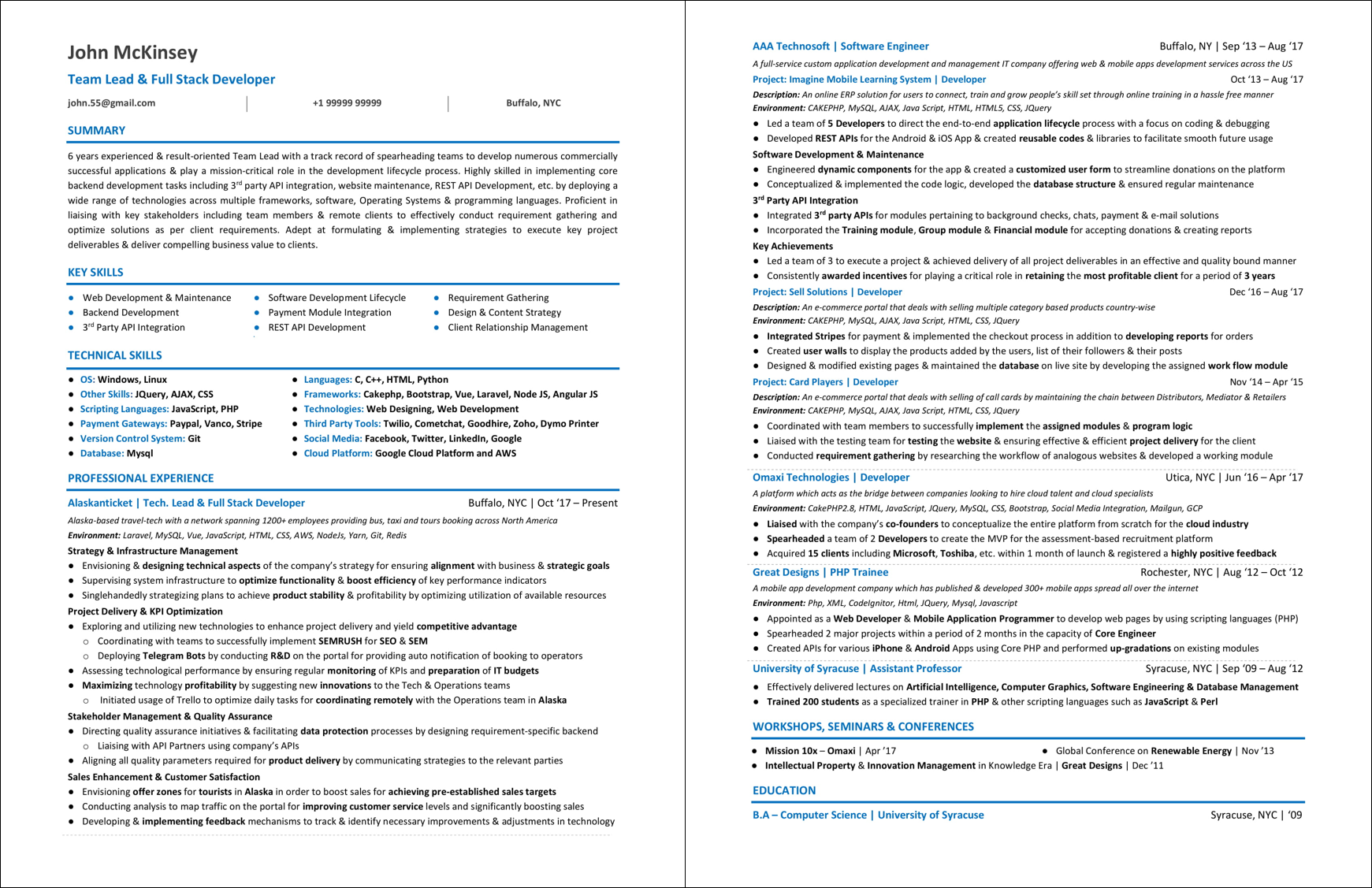 A Complete Sample Resume For Web Developer