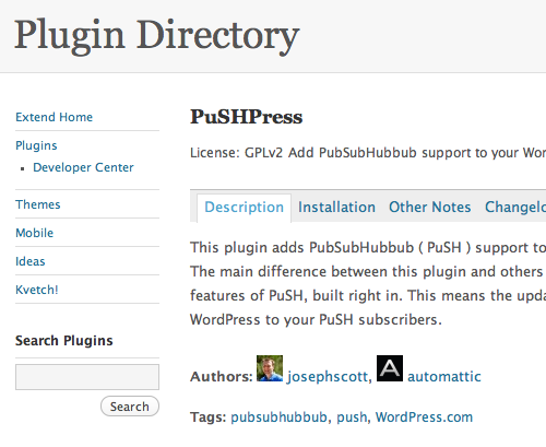 PushPress - Add PubSubHubbub support to your WordPress website