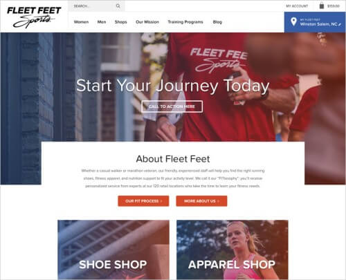 Fleet Feet's home page