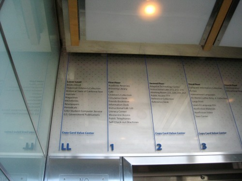Wayfinding and Typographic Signs - library-elevator-guide