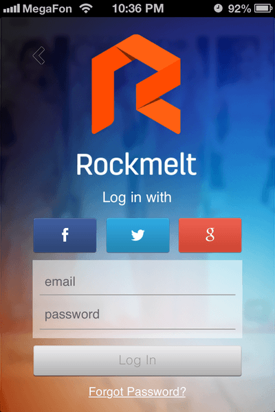 The Rockmelt app offers one-click sign-on via Facebook, Twitter or Google.