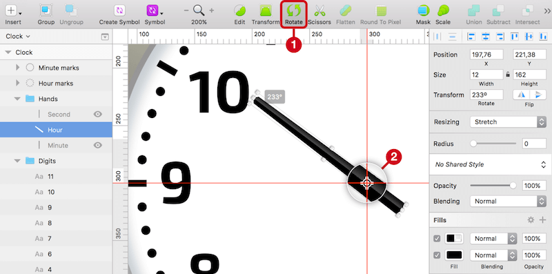 Use the Rotate icon on the toolbar (1), which lets you alter the rotation point (2). Set it to the intersection of the custom guides, so that you can turn the minute hand like on a real watch. Rotate it by 233 degrees.