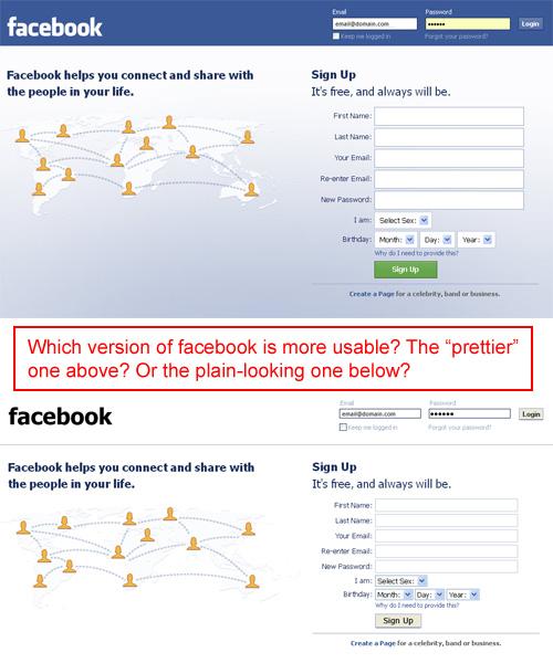 Facebook's homepage