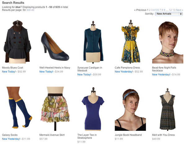 When you search ModCloth.com for 'blue,' it returns all things that are blue