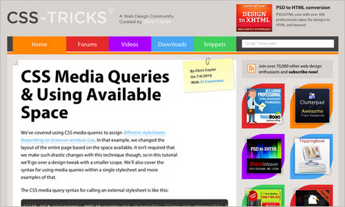 CSS Media Queries and Using Available Space
