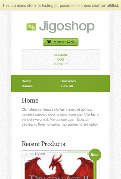 Jigoshop on mobile uses the same colours and font styling as the desktop version with a simplified menu banner, a narrower grid for product images and the sidebar below the main content.
