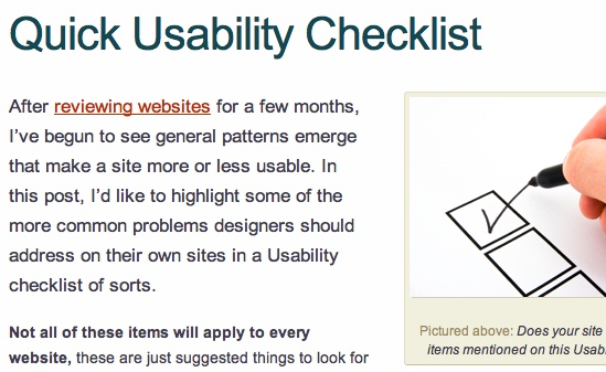 Quick Usability Check List
