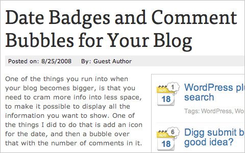 Date Badges and Comment Bubbles for Your Blog