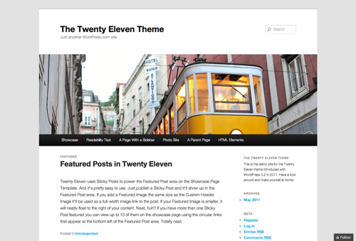 The twenty eleven desktop version includes a full width header image and standard sidebar to the right.