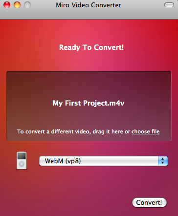 Miro Video Converter in action - simply drag a video, select output format and press convert