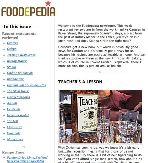 Foodepedia newsletter